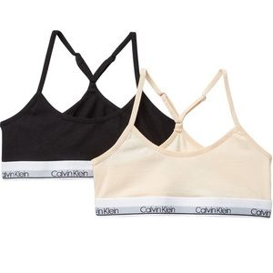 Calvin Klein 2Pack Logo Cotton Stretch Bralette S